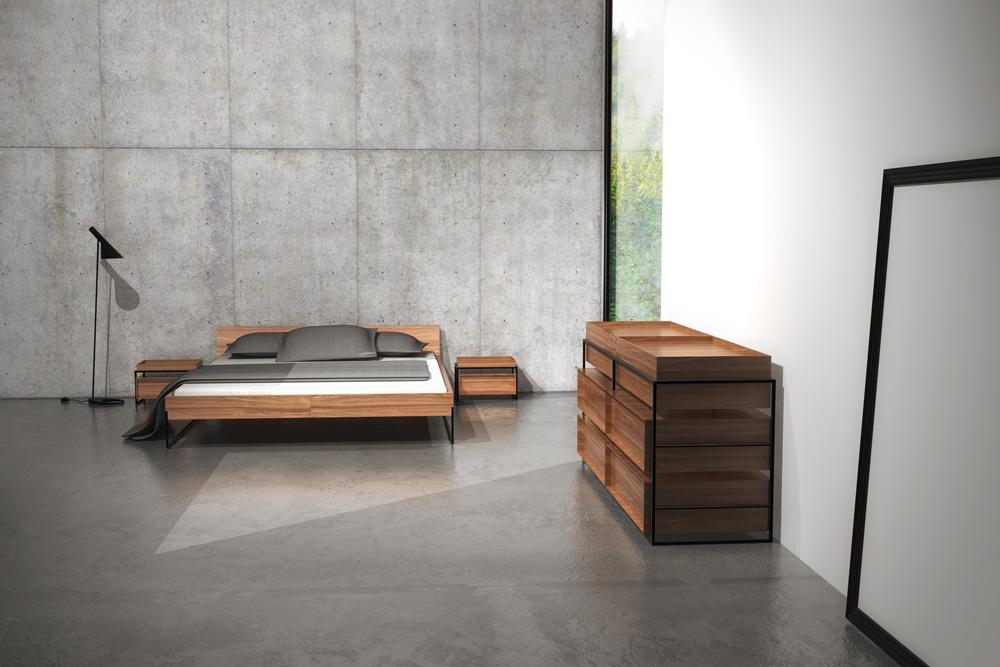 c3studio par mario painchaud-mobilier sur mesure-collection dénudé-design de meuble-mobilier haut de gamme-chambre a coucher-designer interieur-architecte-lit-commode-table de chevet